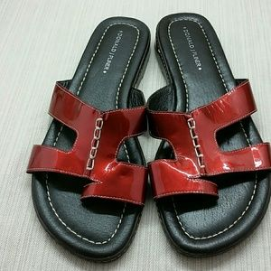 Donald J Pliner Red Patent Sandals Slides